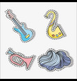 set beautiful sticker music instruments vector image