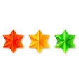 set icons faceted stars realistic three vector image