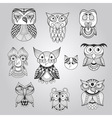 Set of 10 Doodle Owls vector image vector image