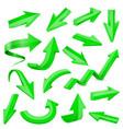 set of green 3d shiny arrows vector image vector image