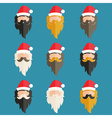 Set of hipster flat design of Santa Claus vector image