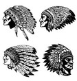 set of native american heads in headdress design vector image