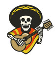 skull wearing sombrero playing guitar vector image vector image