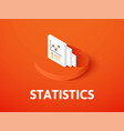 statistics isometric icon isolated on color vector image vector image