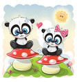 two cartoon pandas are sitting on mushrooms vector image vector image