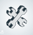 Two dimensional spanners crossed 3d enginee vector image