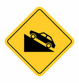 uphill traffic sign vector image vector image