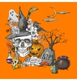 Vintage Halloween Invitation Card with Skull vector image vector image