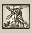 vintage windmill vector image