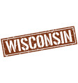 wisconsin brown square stamp vector image vector image