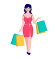 woman with packages vector image