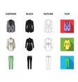 women clothing cartoonblackoutlineflat icons in vector image