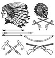 set of native american indians chiefs heads vector image