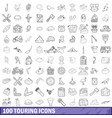 100 touring cons set outline style vector image vector image