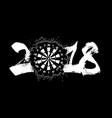 abstract number 2018 and darts board vector image