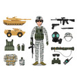army soldier character with military vehicle vector image