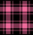 black pink tartan plaid seamless pattern vector image