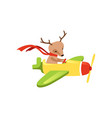 brown deer with scarf on neck flying on little vector image vector image