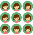 Cartoon Cute Girl with Different Emotion Silent vector image vector image