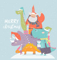 cartoon santa claus with gifts sitting on dinosaur vector image vector image