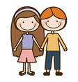 color silhouette cartoon couple kids in casual vector image vector image