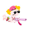 cupid and weapons cute little angel and love gun vector image vector image