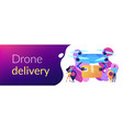 drone delivery concept banner header vector image vector image