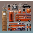 England London UK Set of colored icons vector image