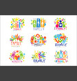 family colorful labels original design set of vector image vector image