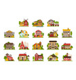 farm houses and buildings set agriculture vector image