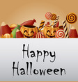 halloween background pumpkins basket and collected vector image vector image