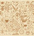hand-drawn seamless pattern on tea theme vector image