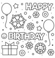 happy birthday coloring page black and white vector image vector image