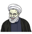 hassan rouhani portrait drawing cartoon vector image vector image