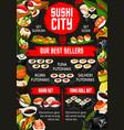japanese sushi bar asian food dishes menu vector image vector image