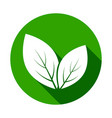 leaves icons leaf icon with long shadow on green vector image vector image