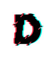 logo letter d glitch distortion diagonal vector image vector image