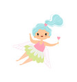 lovely little winged fairy with light blue long vector image vector image