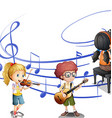 Many kids playing music together vector image vector image