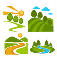 nature landscape backgrounds set vector image vector image