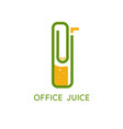 office clip with juice and straw design template vector image