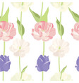 pink and lilac tulips seamless pattern vector image vector image
