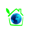 planet earth in the green house with leaf vector image vector image