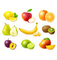 realistic fruit 3d vegan food wholes and vector image