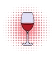 Red wine in glass comics icon vector image vector image