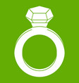 ring with gemstone icon green vector image vector image