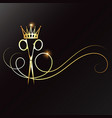 scissors with a lock hair and golden crown vector image vector image