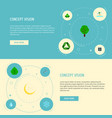 set of eco icons flat style symbols with solar vector image
