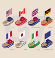 set of isometric ships with flags of g7 and eu vector image vector image
