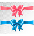 set of realistic pink and blue ribbon and vector image